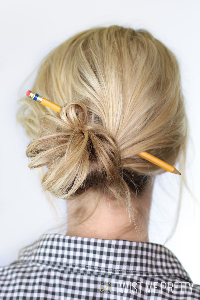 wear hair for school, cute bun,