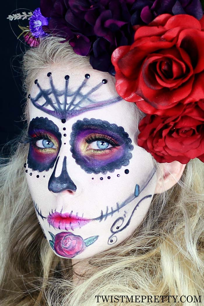 Purple Paint Colors >> Sugar Skull Makeup Tutorial for Beginners - Twist Me Pretty
