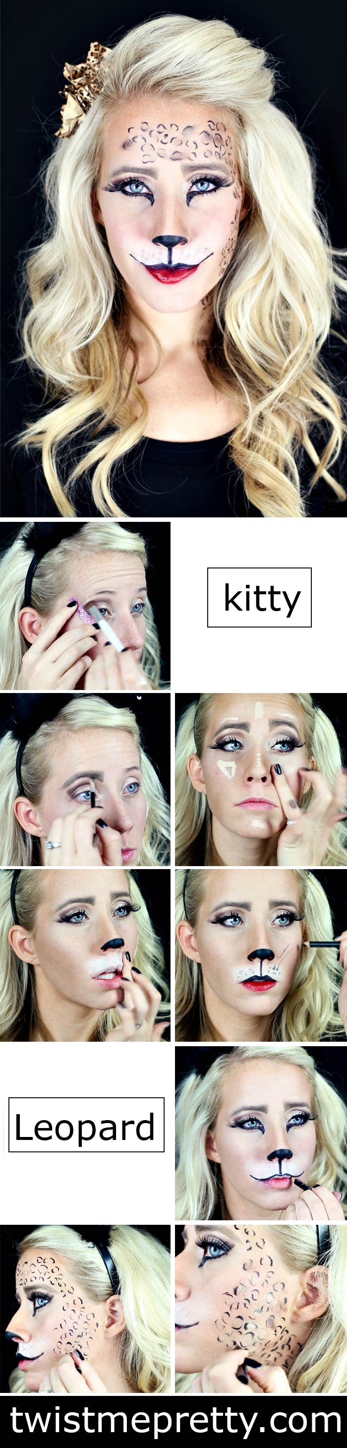easy kitty and leopard makeup tutorial