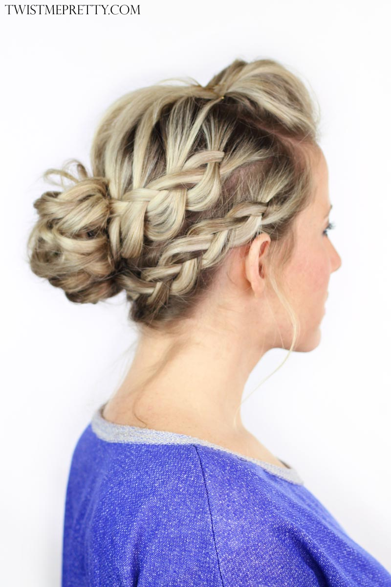 Double Braided Messy Bun Twist Me Pretty