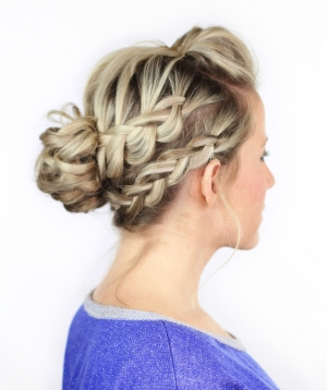 Double Braided Messy Bun