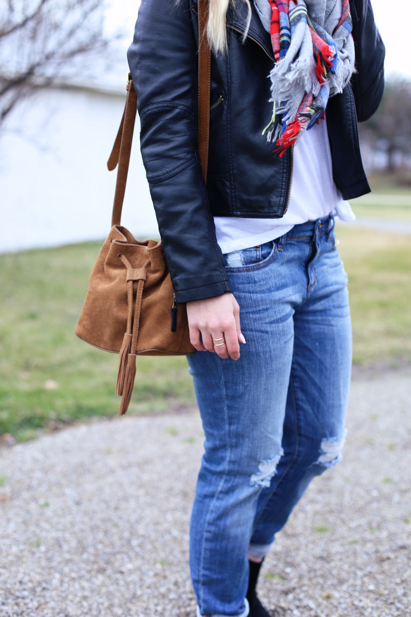 Leather jacket and boyfriend jeans