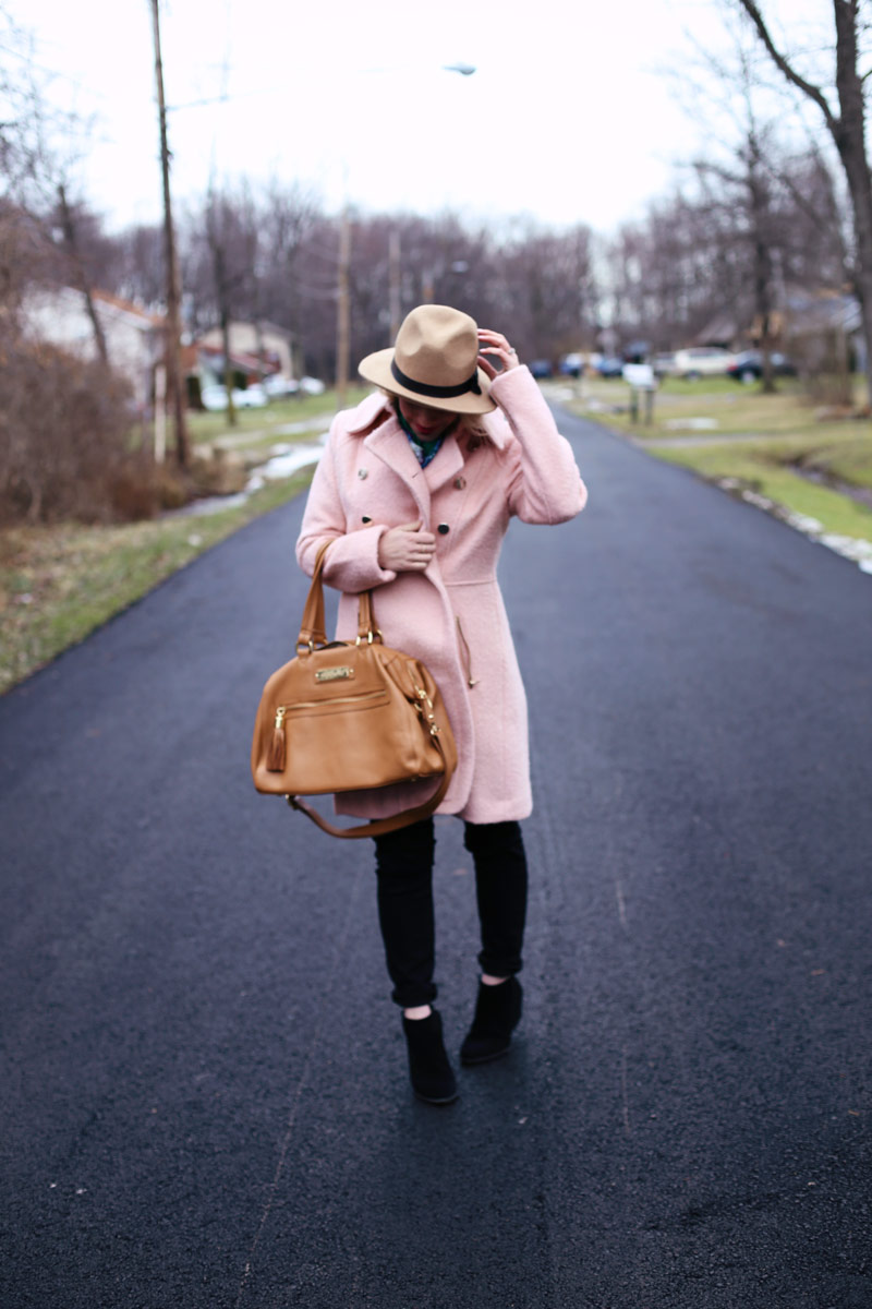 A stylish pink coat to keep warm and dry