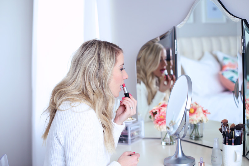 Abby puts on bright pink lipstick. Twist Me Pretty. 5 ways to self-love. Taking time for you