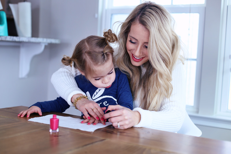 Abby paints her daughter's nails. Twist Me Pretty. 5 ways to self-love