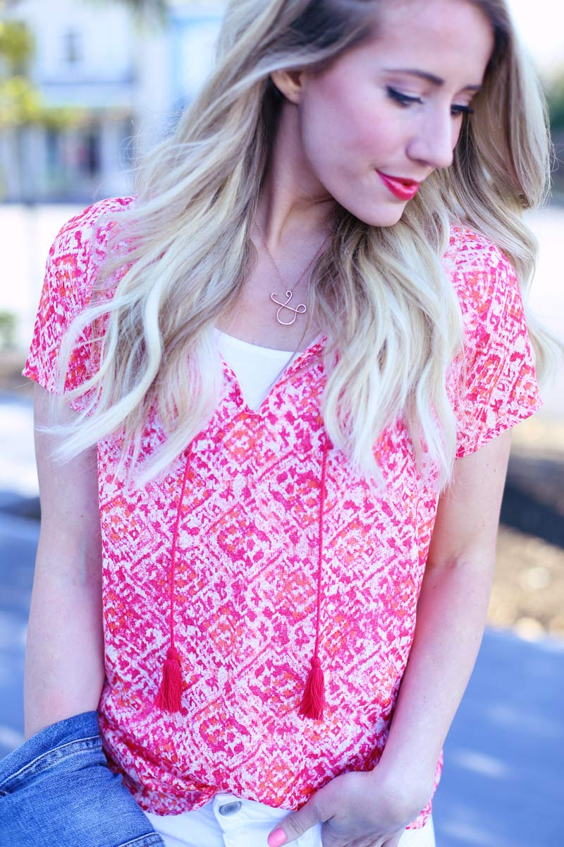 Gorgeous pink top with stunning lips to match
