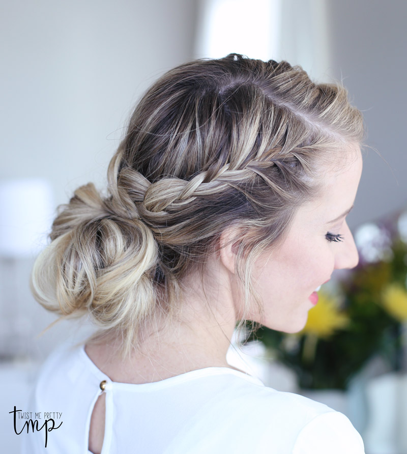 Want to learn how to do a laced braid up-do? Check out Twist Me Pretty's tutorial.