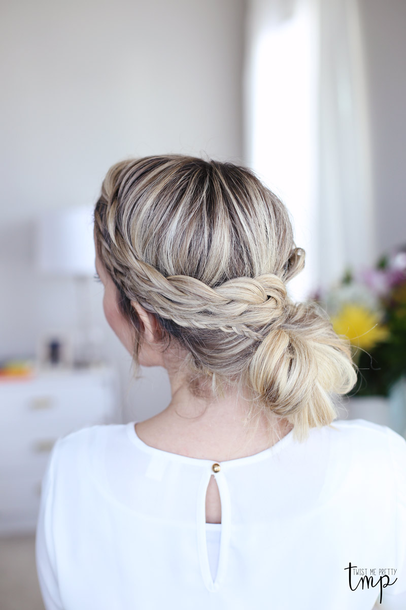 A laced braid up-do is the perfect day-to-night hairstyle. Check out Twist Me Pretty's tutorial.