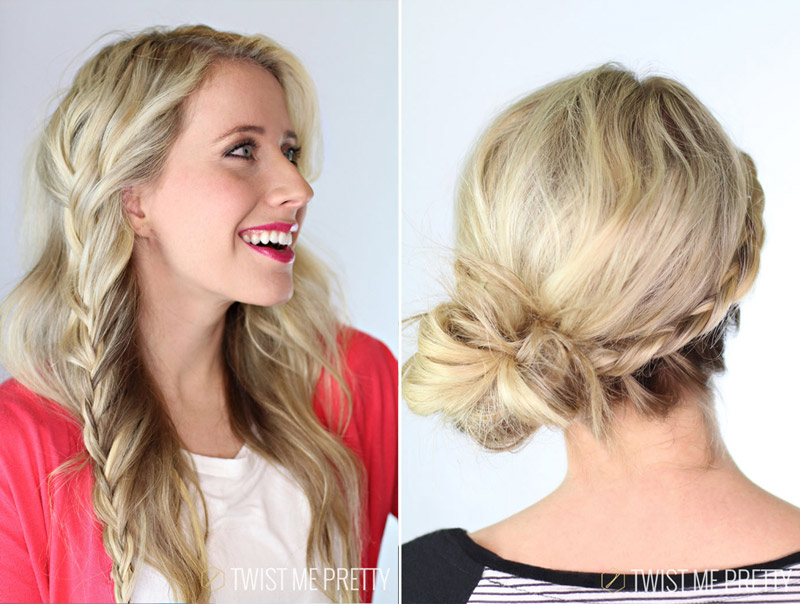 Twist Me Pretty's laced braids are versatile. Check out the tutorial on how to do a laced braid up-do!