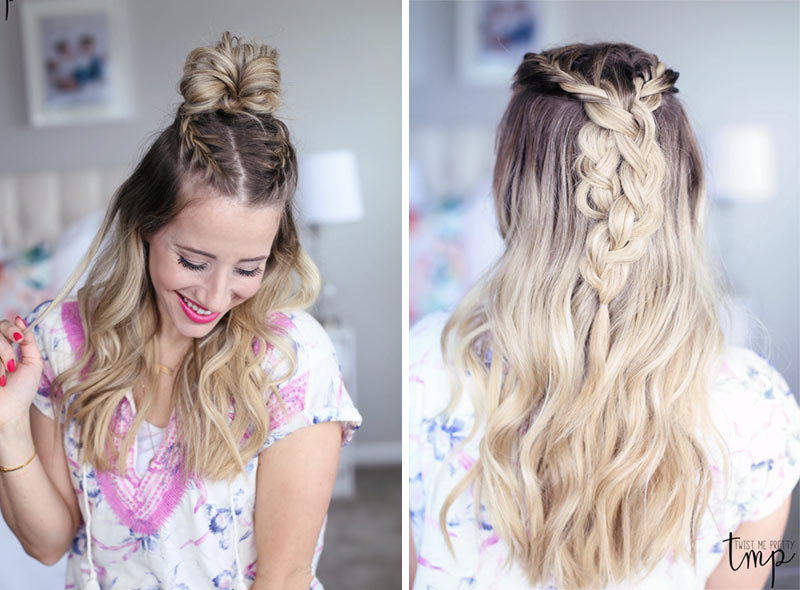 Two braided-top-knot styles from Abby at Twist Me Pretty