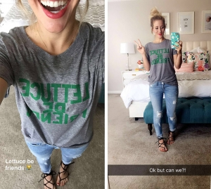 lettuce be friendly t shirt with ripped jeans and sandals abby smith twist me pretty tmp