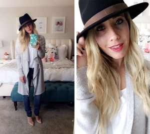 long gray cardigan with black hat and jeans with jeels abby smith twist me pretty tmp