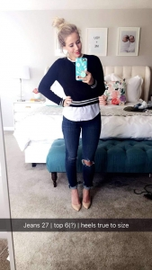 cute varsity sweater with ripped jeans and heels abby smith twist me pretty tmp
