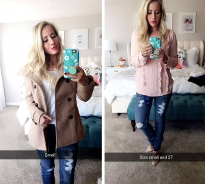 camel coat snapchat ripped jeans heels blush blouse twist me pretty tmp abby smith