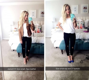 snapchat white t shirt leather jacket black jeans heels ripped jeans
