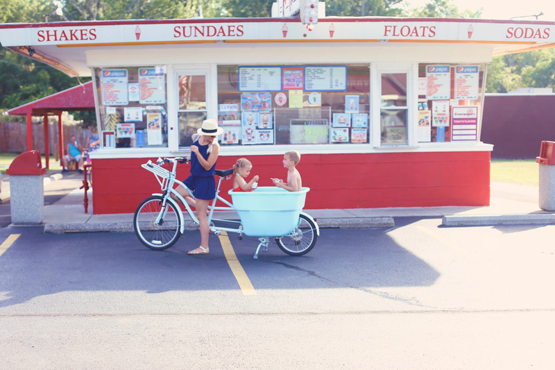 Family time in the Bucket Bike outside the ice-cream shoppe.