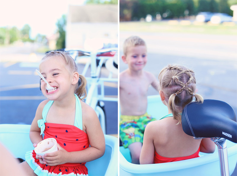 Savy and Boston eat their ice creams in a bucket bike
