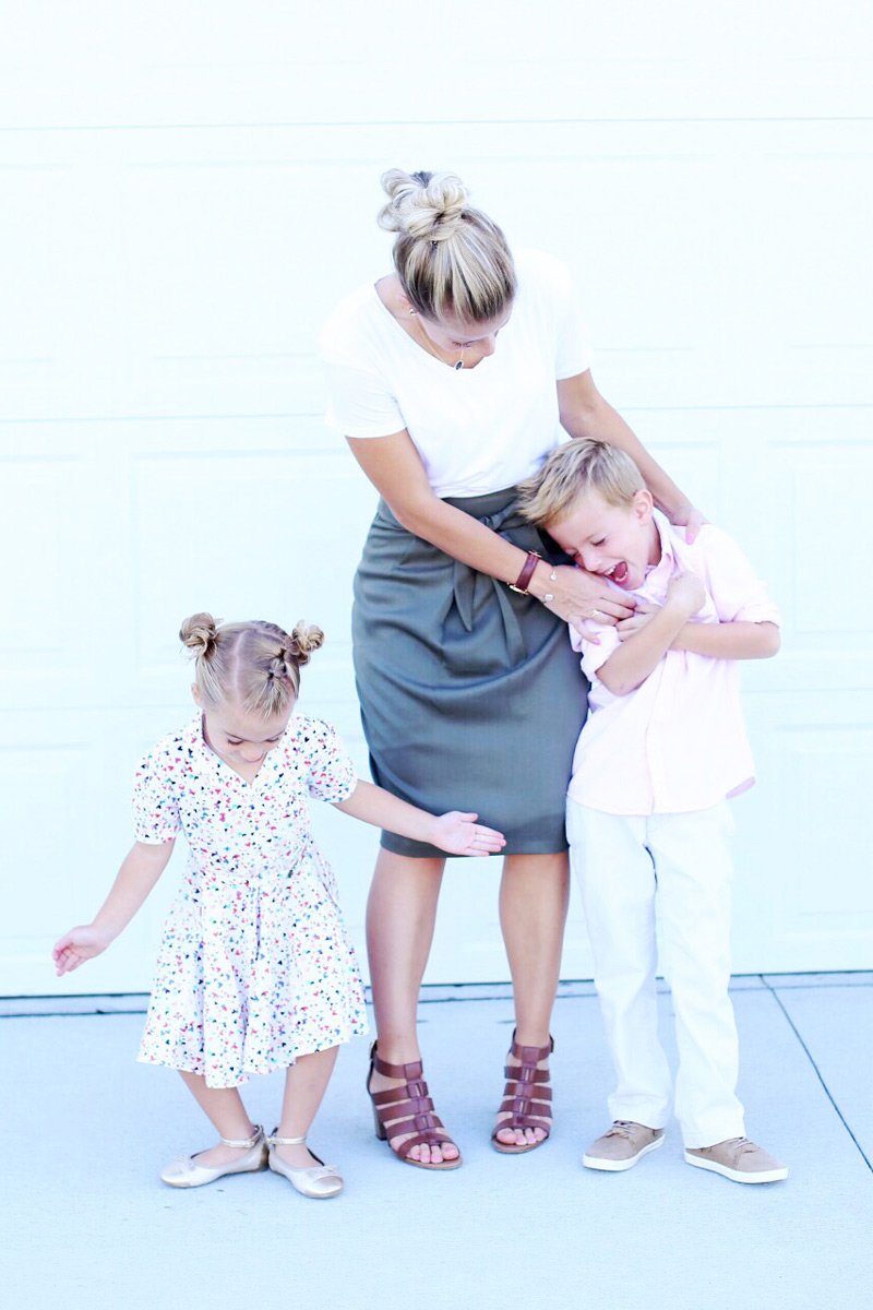 Twist Me Pretty's Abby poses with her son and daughter as they show off their Sunday style.