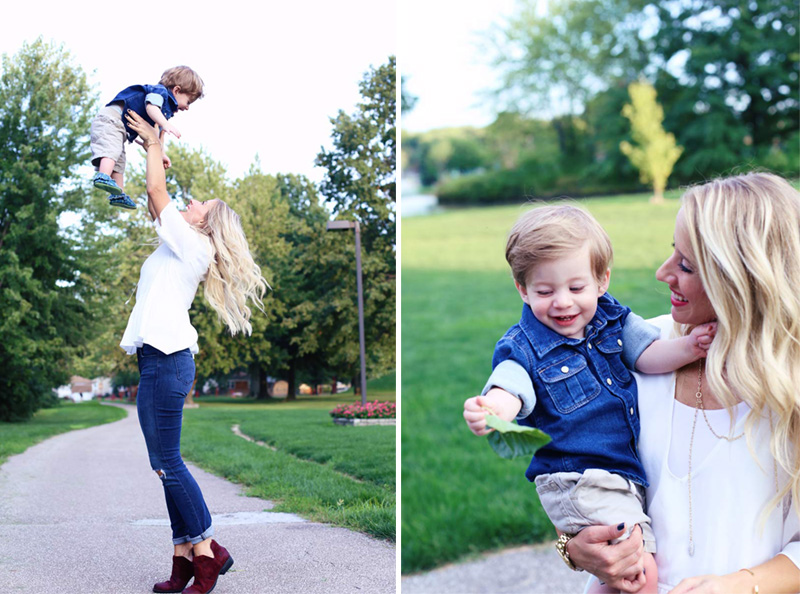 A split photo of a mother playing with her son and enjoy motherhood. On the left, she throws him in the air, and on the right, she is holding him as they both smile.