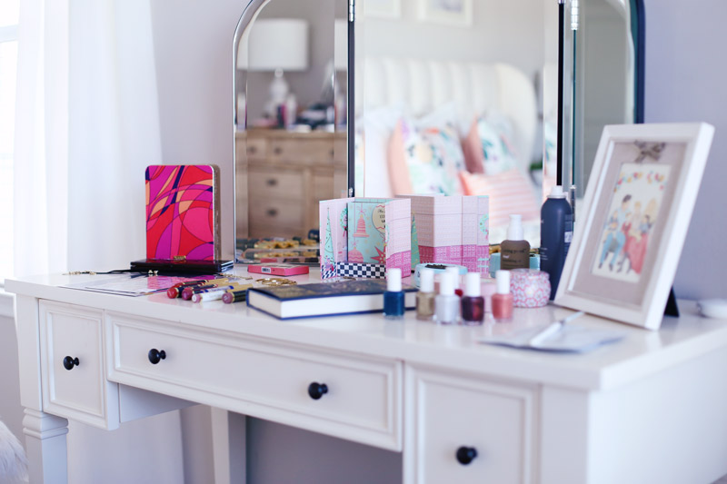 Abby's Holiday Favorites displayed on a white dressing table. Check it out if you need inspiration this holiday season!