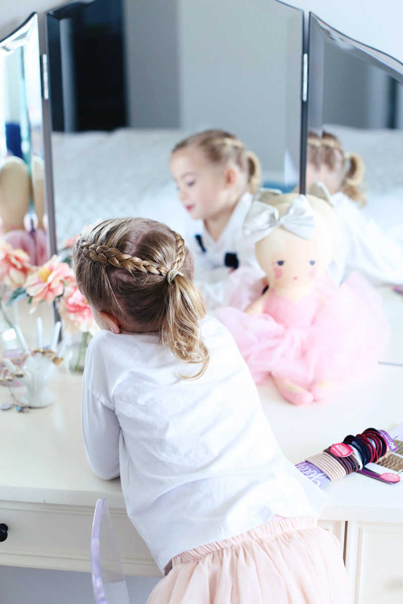 Cute braided ponytail hairstyle for a little girl. Twist Me Pretty - Our Morning Routine.