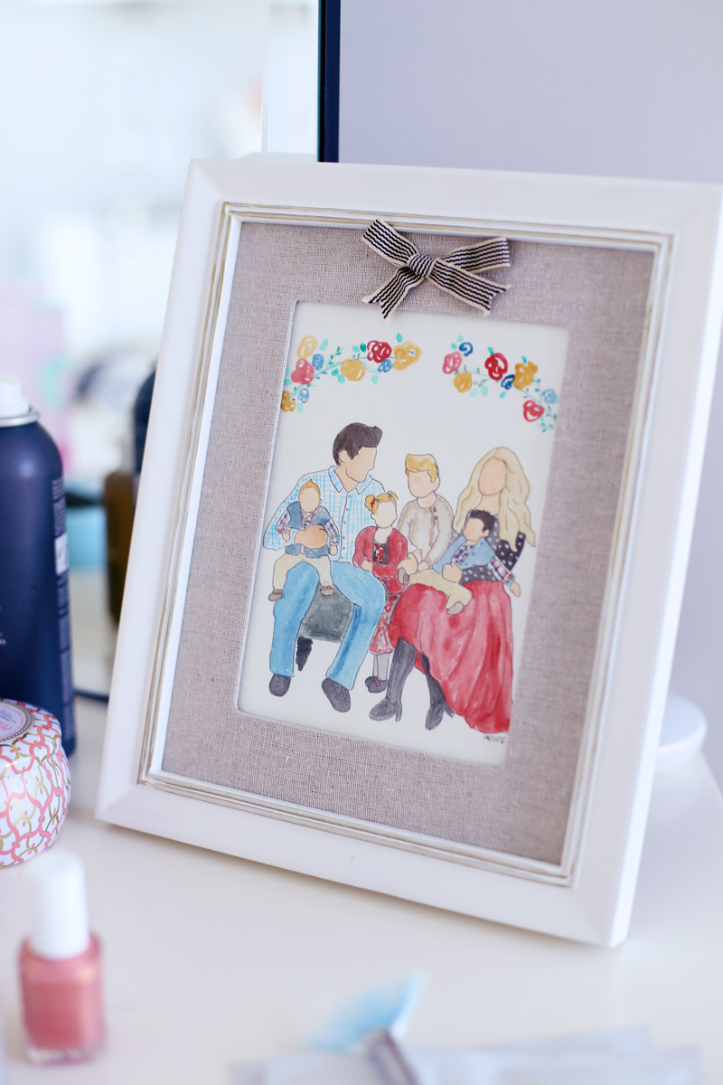 Personalized watercolor portraits make perfect holiday gifts. Read about this and Abby's other holiday favorites at Twist Me Pretty!