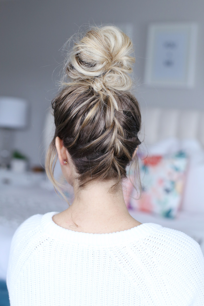 Twist Me Pretty's french braided top knot - a how-to guide