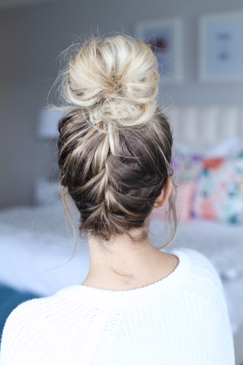 The super easy, super stylish french braided top knot by Twist Me Pretty.