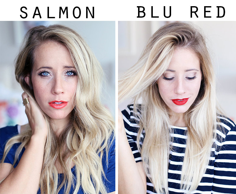 Twist Me Pretty's Abby shows off indelible lipsticks in salmon and red.