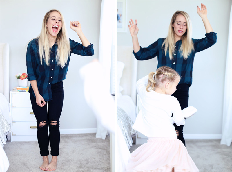 Split-frame photograph; the left of a woman singing and dancing barefoot. On the right, her daughter is dancing with her. Twist Me Pretty - Our Morning Routine.