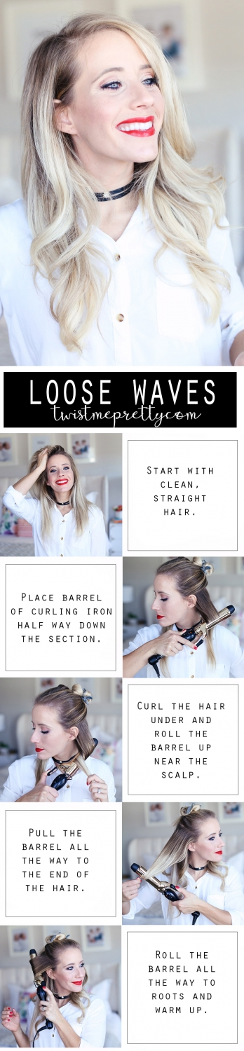 Twist Me Pretty's Abby uses a curling iron to create big loose waves. Find out how to do these 2 holiday hairstyles!
