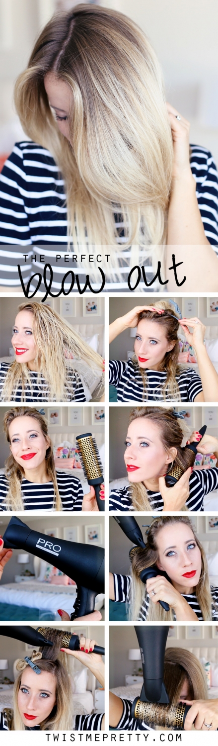 Learn how to Blow Dry your Hair with a Round Brush from Twist Me Pretty. A step-by-step guide!