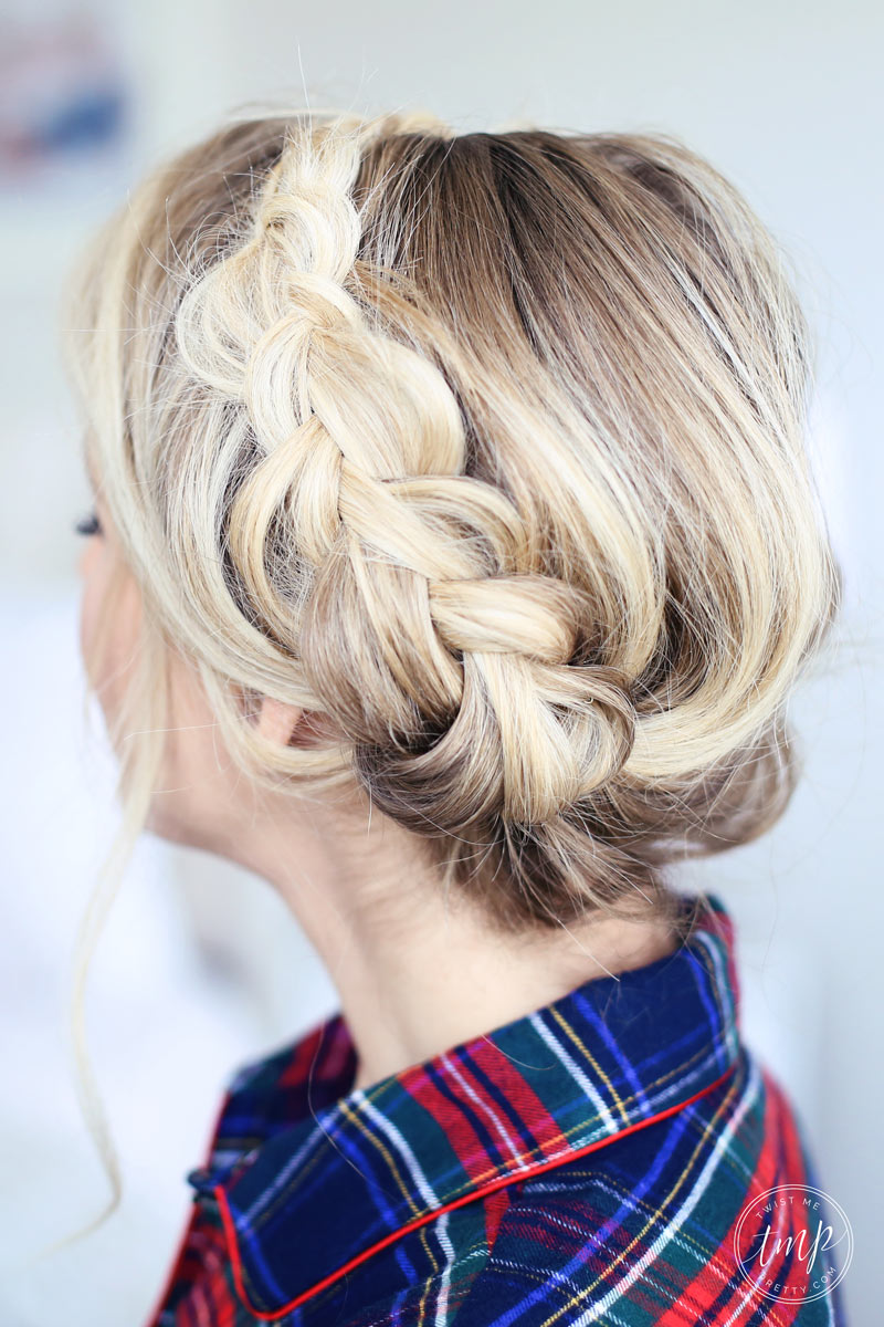 A gorgeous milk braid hairstyle will give you an old-fashioned look this Christmas morning. Find out more at Twist Me Pretty.