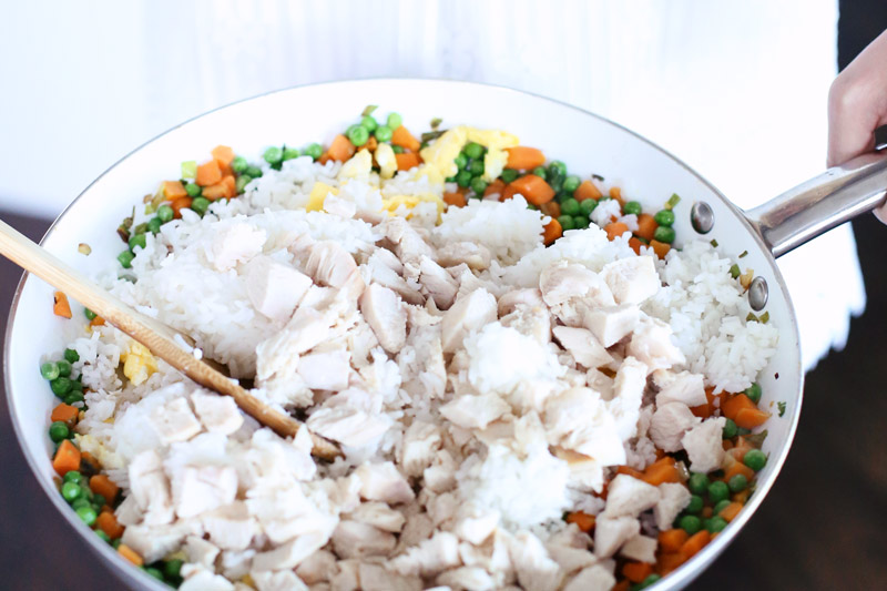 All the ingredients in the pan! Teriyaki Chicken Fried Rice