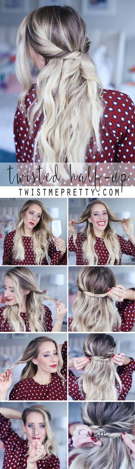 Twisted half-up style made easy with a Goody Spin Pin, and Abby's 8 easy steps.