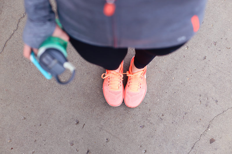 Comfy, cute shoes can make all the difference to your exercise routine. Don't forget the water!