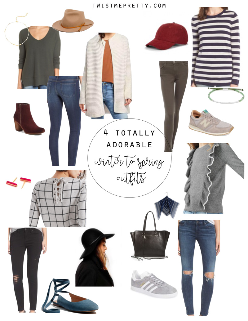 Four totally adorable Winter to Spring outfits from Twist Me Pretty