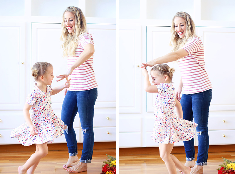 Mom and daughter feel the love and dance this Valentine's Day.