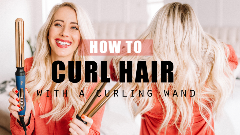 how to curl hair with a curling with by Abby from twistmepretty.com