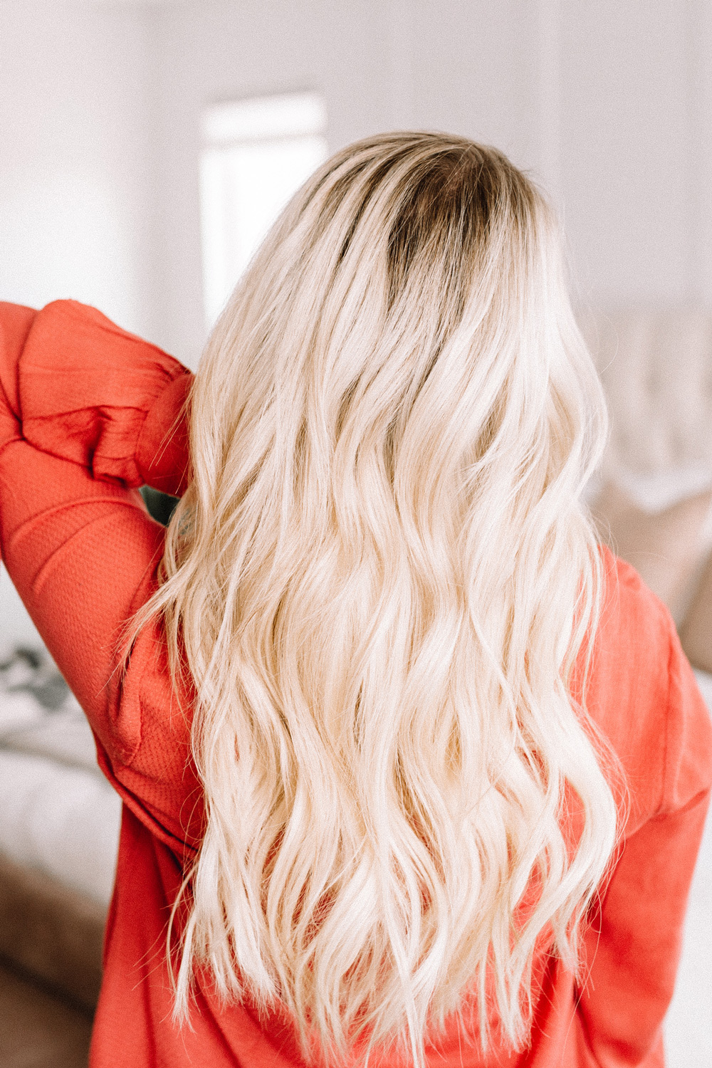 how to curl long hair with a curling wand by Abby from twistmepretty.com