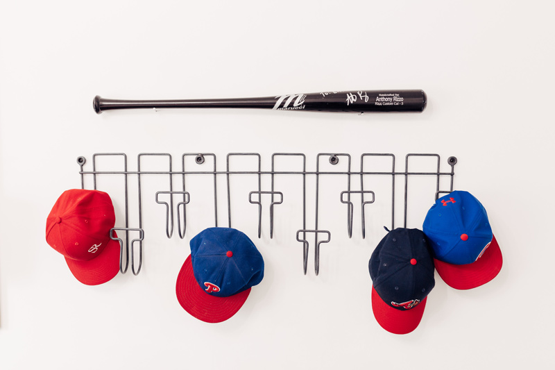 Sporty Boys Bedroom Reveal baseball hat rack how to decorate a boys room with www.twistmepretty.com