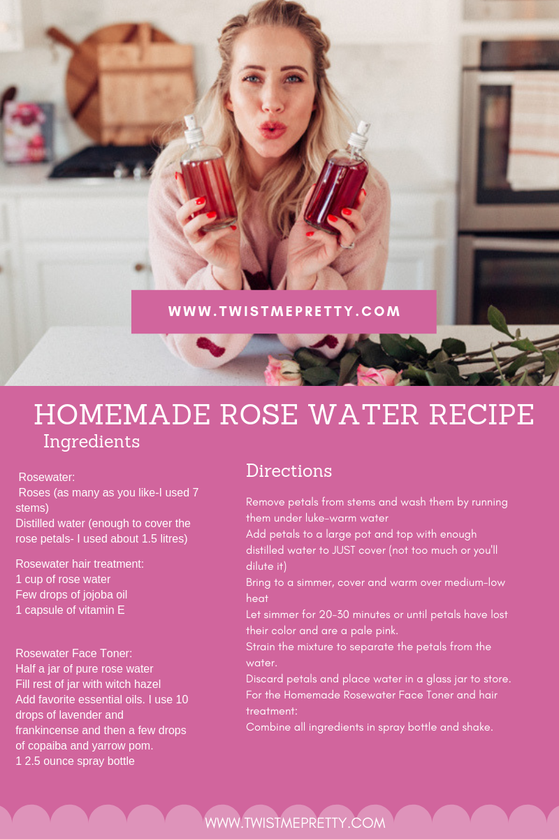 DIY Rose water how to use your leftover roses from valentines day complete recipe and use guide with twistmepretty.com a step by step guide