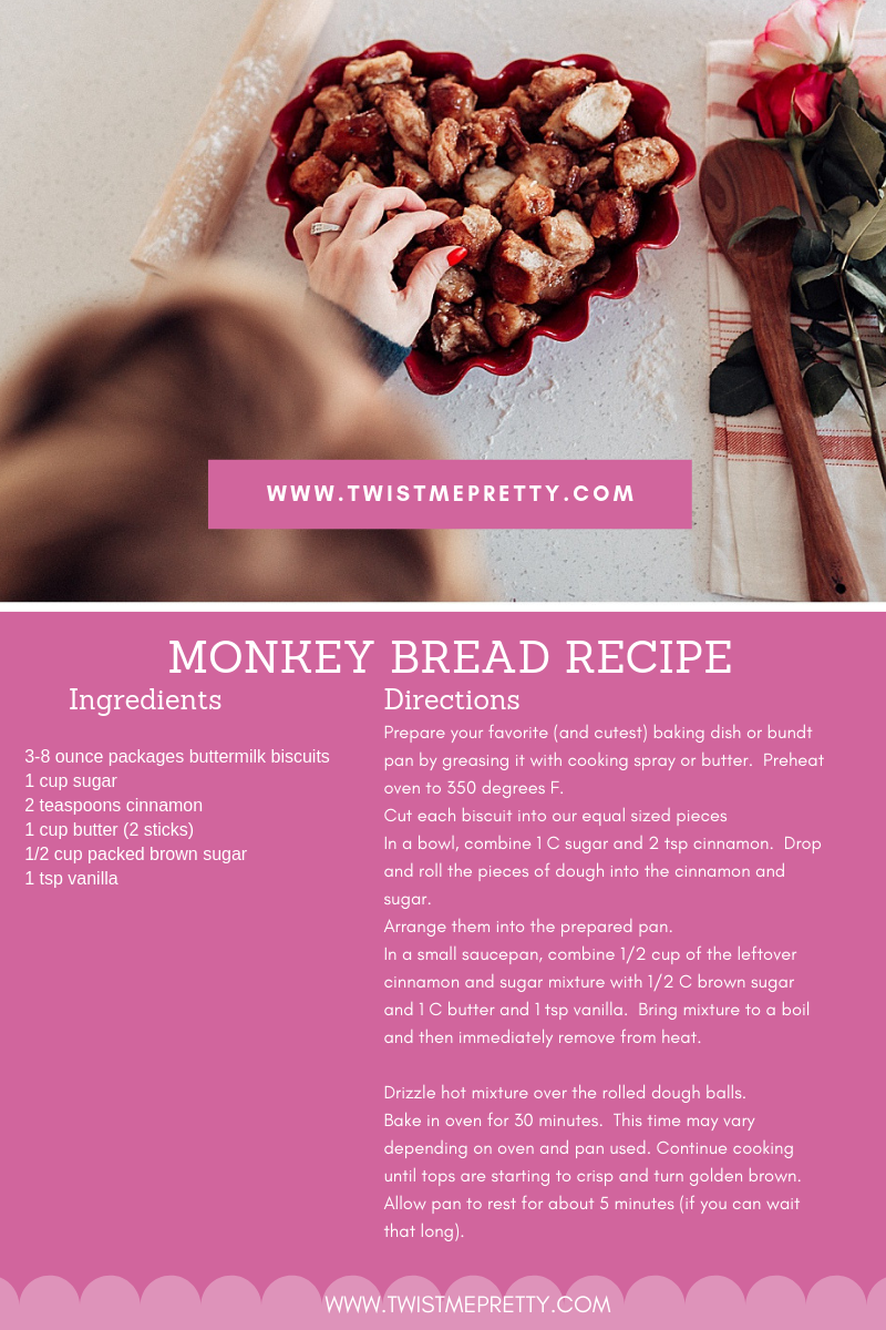 Valentine's Day Monkey Bread Recipe from twistmepretty.com how to make the best monkey bread