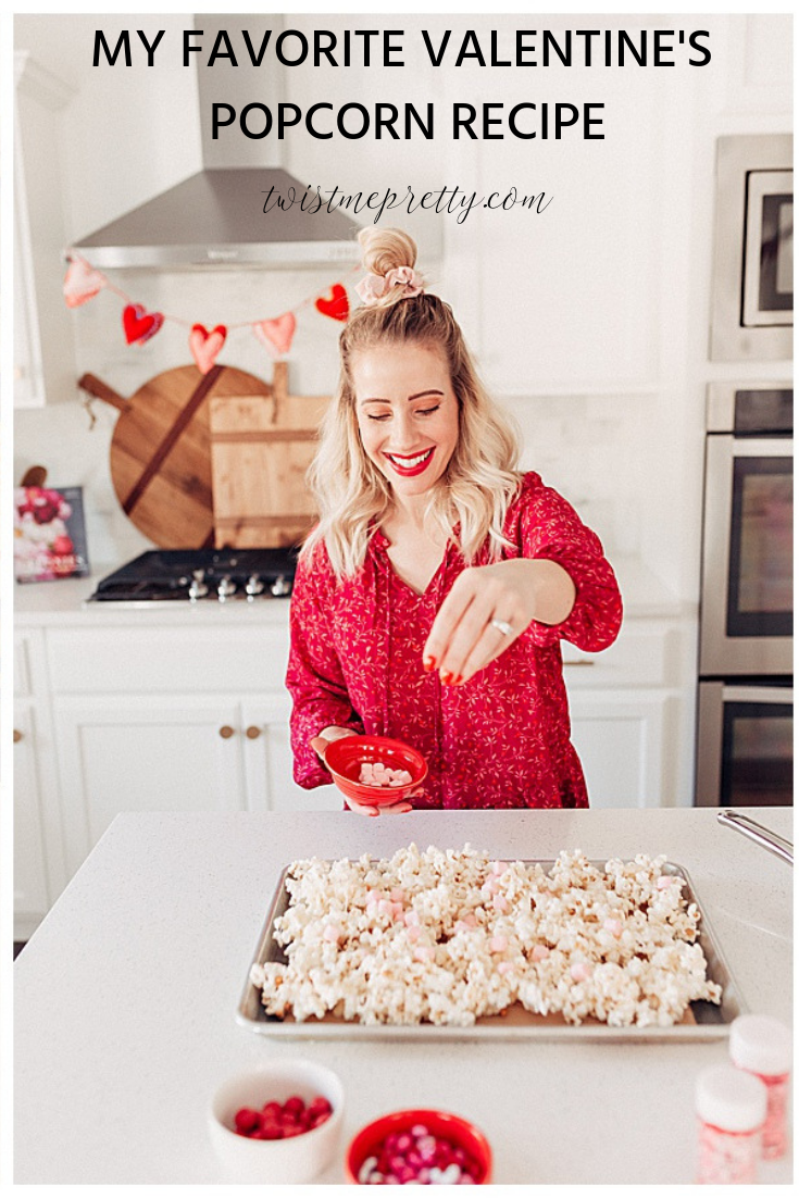 How to make Valentine's Popcorn Valentine's Recipe and neighbor gifts with twistmepretty.com