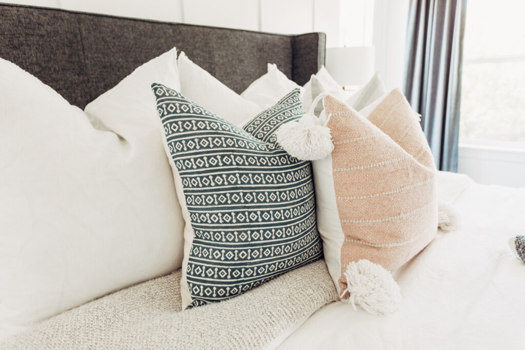 Modern throw pillow inspiration for an adult bedroom with twistmepretty.com