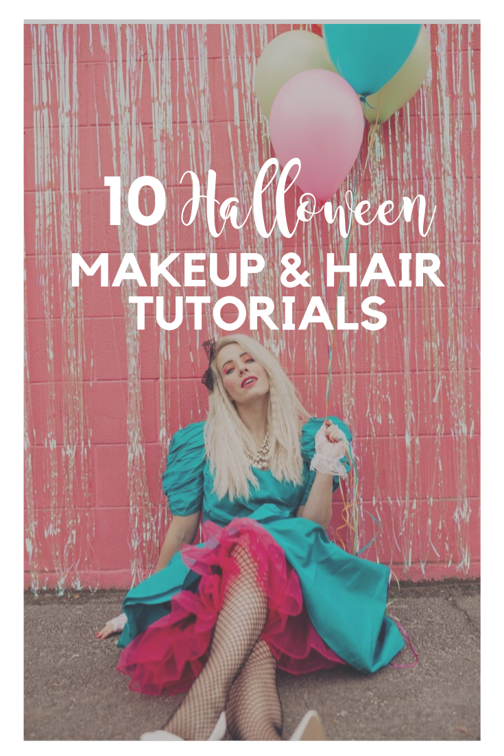 Halloween makeup and hair tutorials for cute and modest Halloween costumes that will fit in your budget!