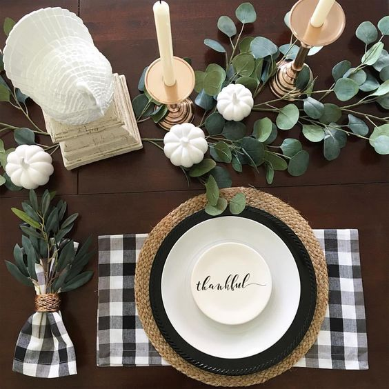 Neutral, classic colors create a timeless table setting you can use year after year.