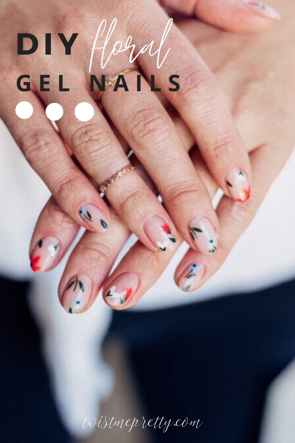 Diy tutorial for gel nails that you can at home! Love these gorgeous floral designs for every season.