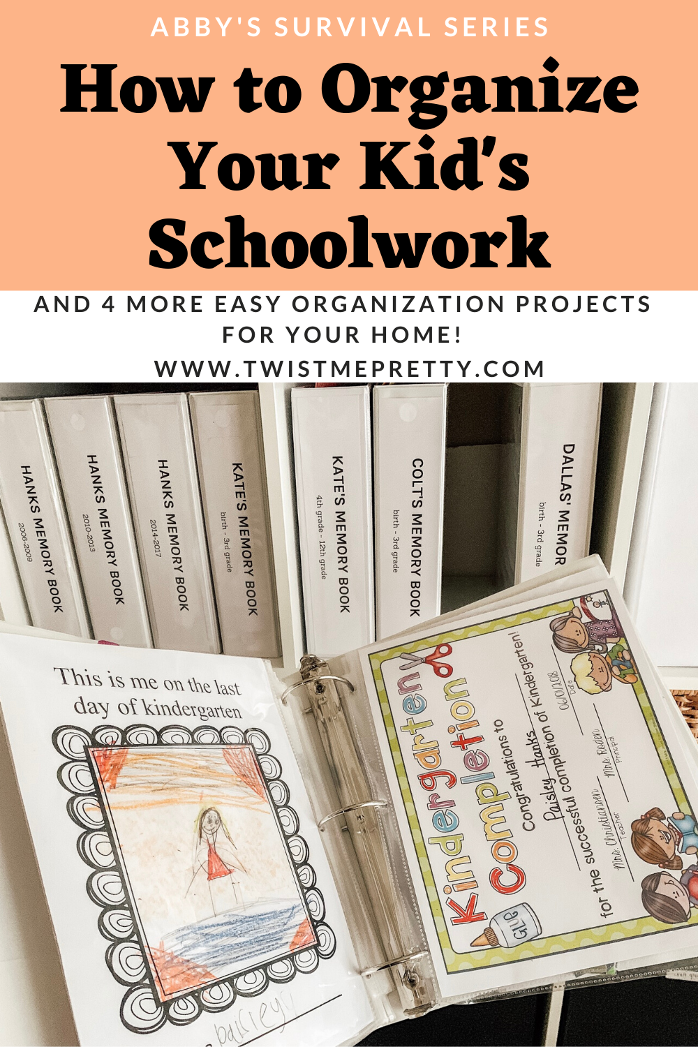Abby's Survival Series- How to Organize Your Kid's Schoolwork by Homegrown Traditions. www.TwistMePretty.com
