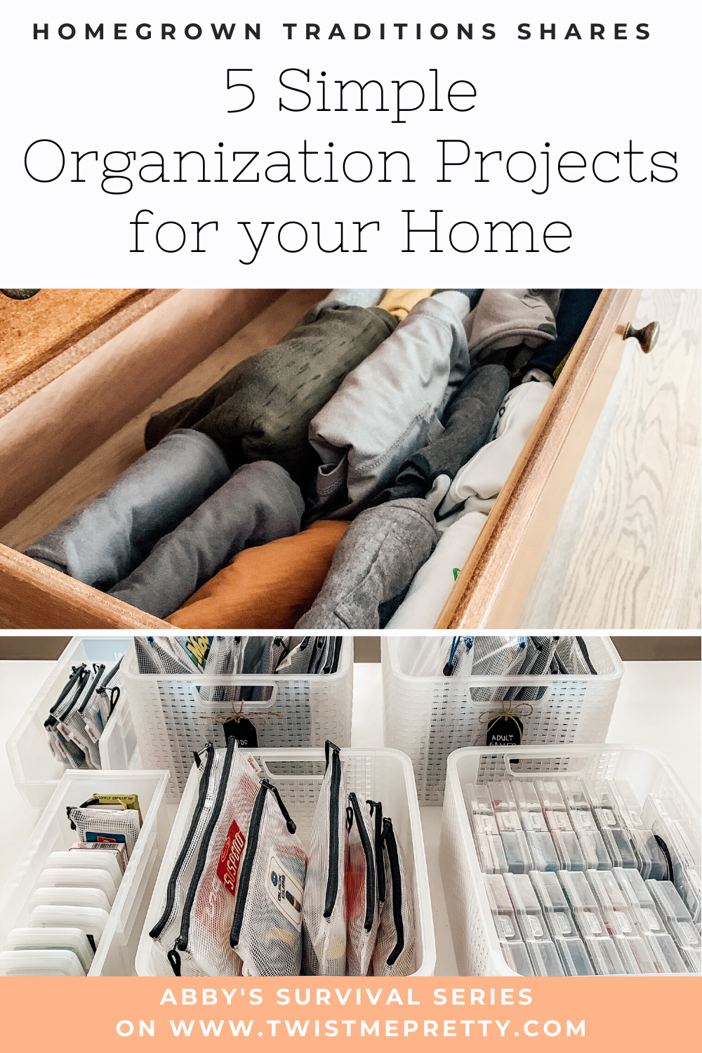 Homegrown Traditions shares 5 Simple Organization Projects for your Home. www.TwistMePretty.com
